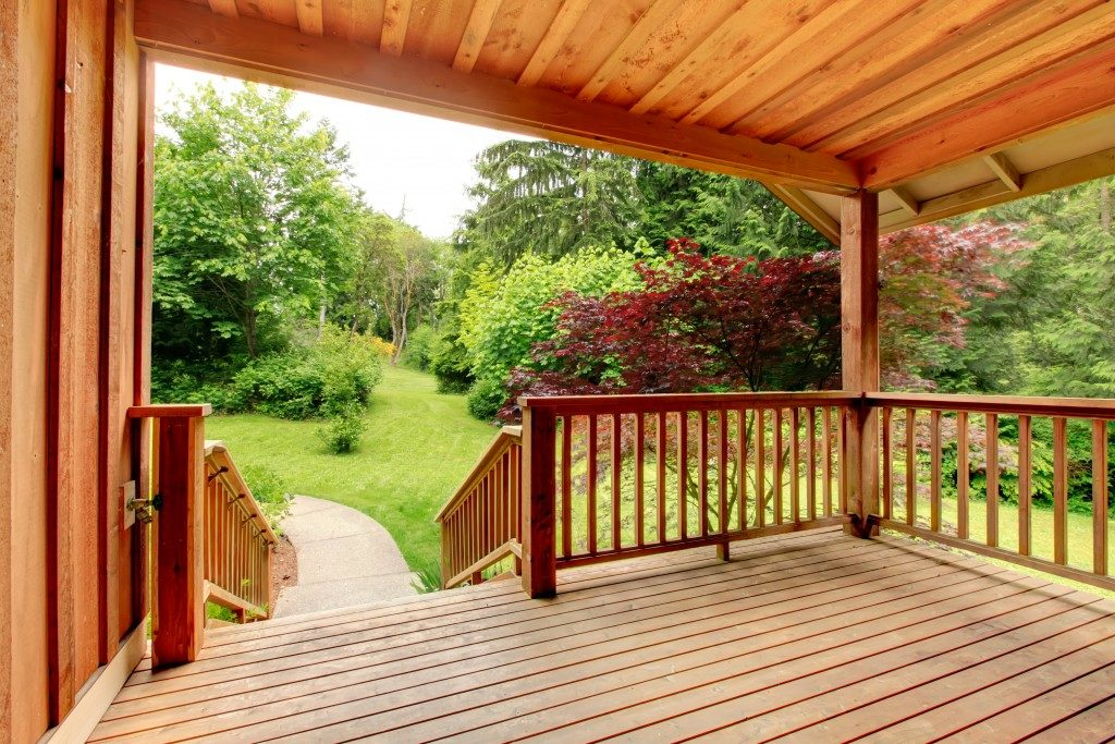 Home deck with scenery