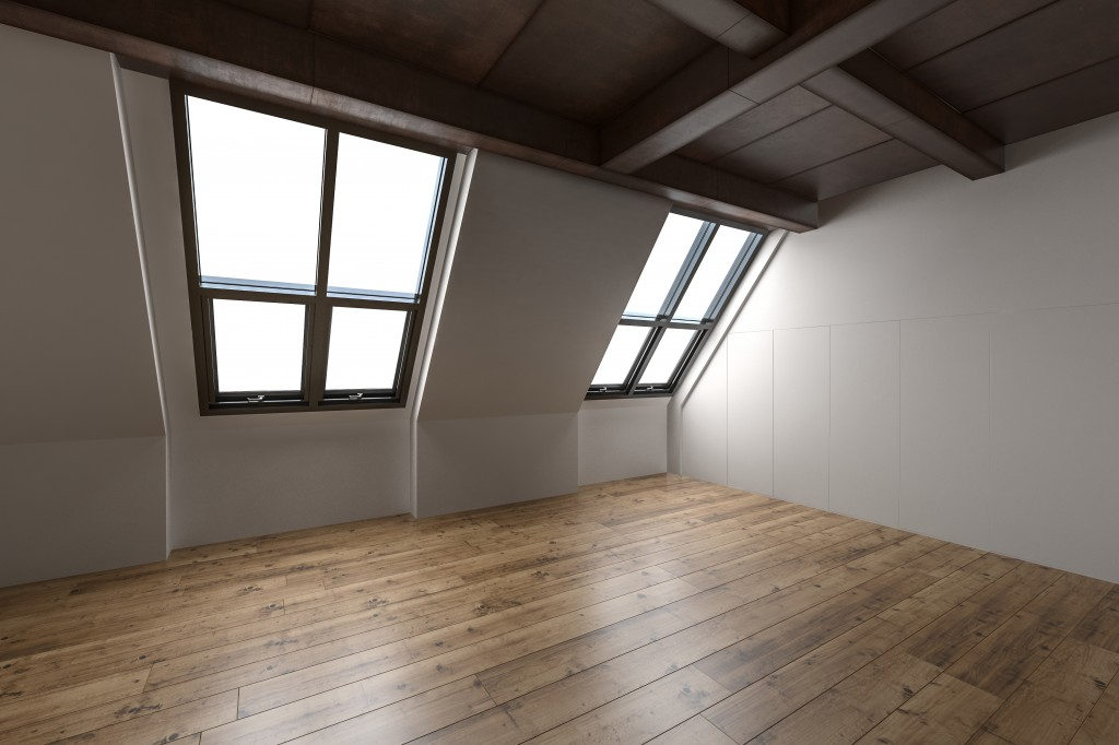 Attic with sloping windows