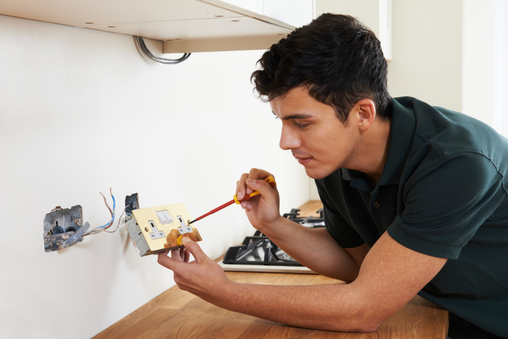 person doing maintenance